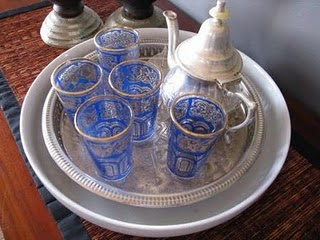 Chamomile and Peppermint Blog - Interior Inspirations - Indigo Obsession Blog - moroccan tea set