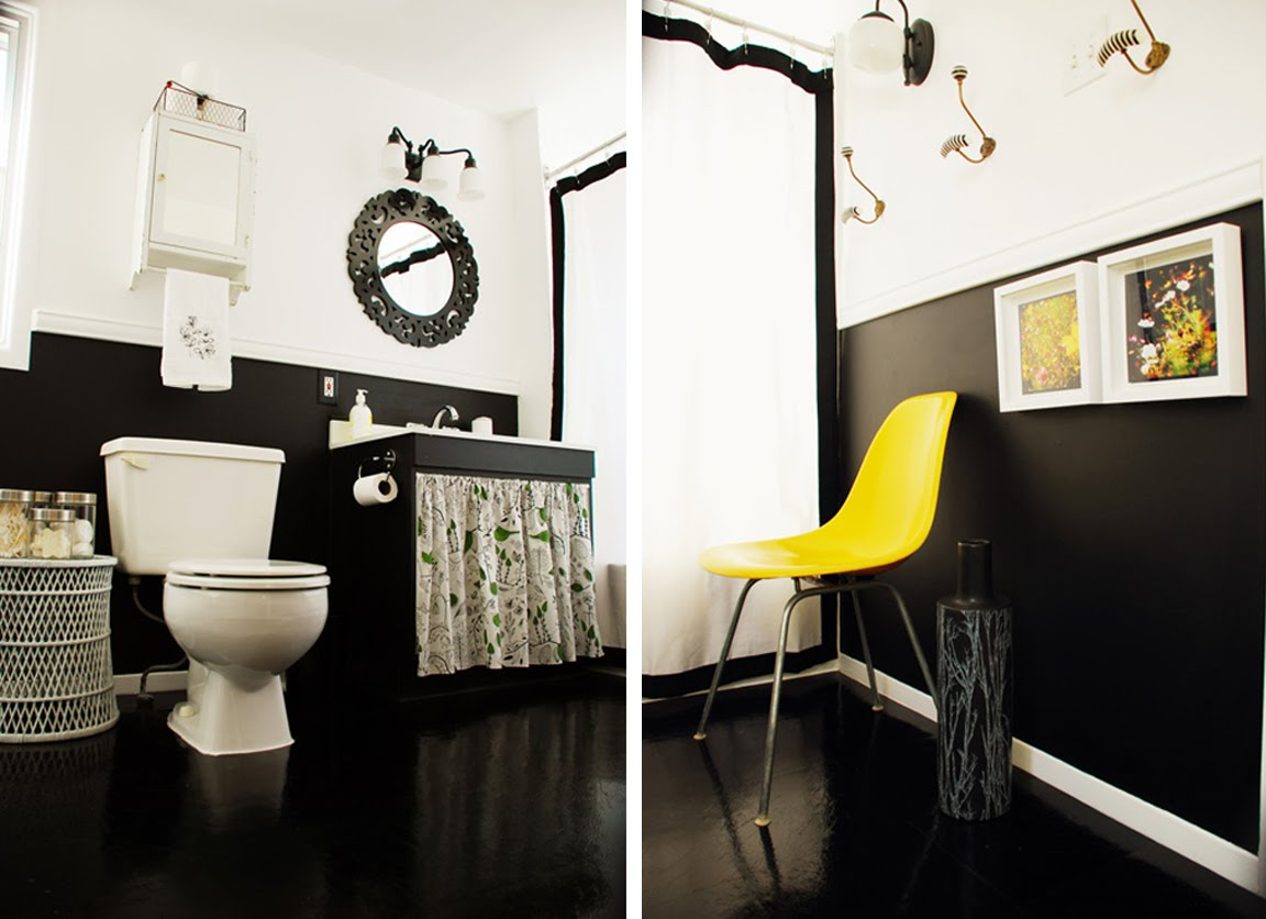 Black white yellow black white and yellow bathroom for Yellow and black bathroom ideas