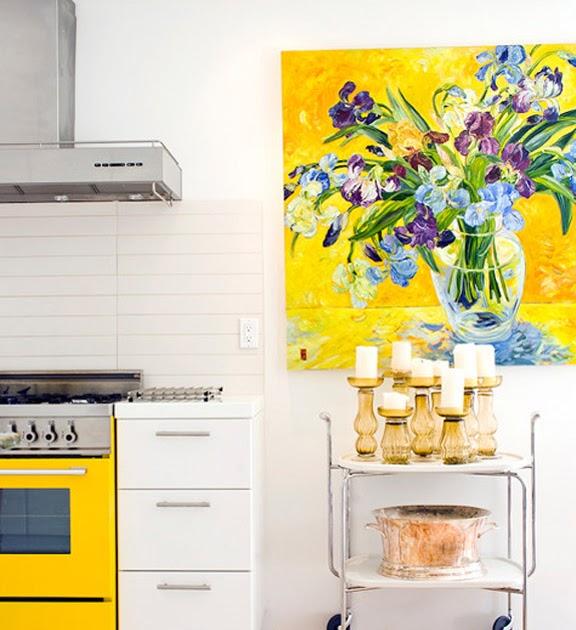 Black White Yellow And Kitchen