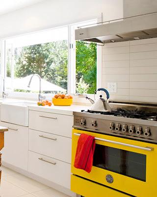 Black White Yellow White And Yellow Kitchen