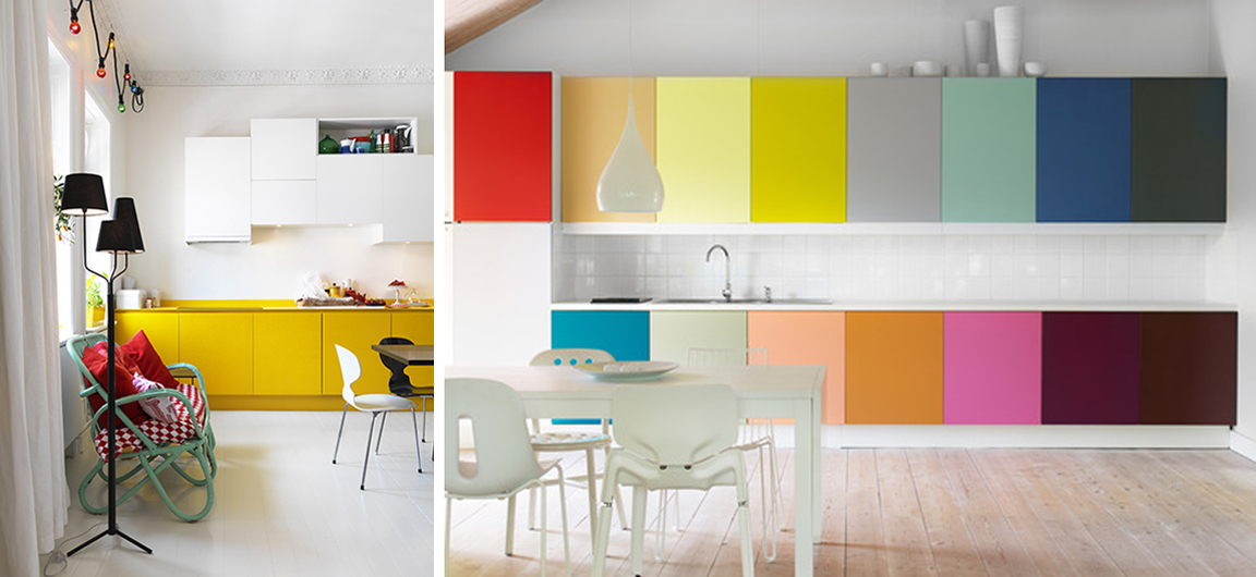 2 Colorful Kitchen Cabinets