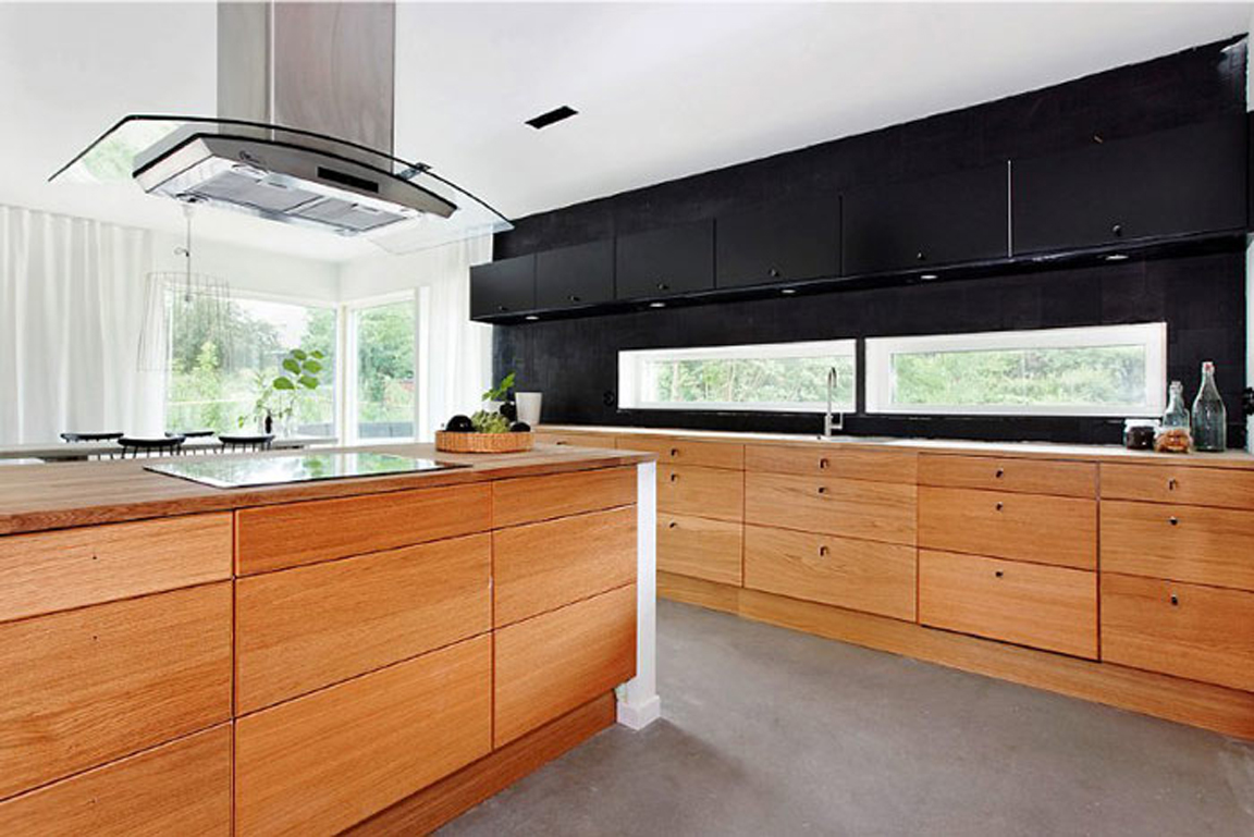 Black white yellow black and wood modern kitchen for Dark wood cabinets small kitchen
