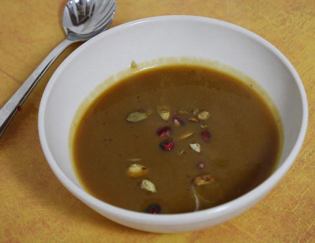 Butternut Squash, Sweet Potato, and Pomegranate Soup