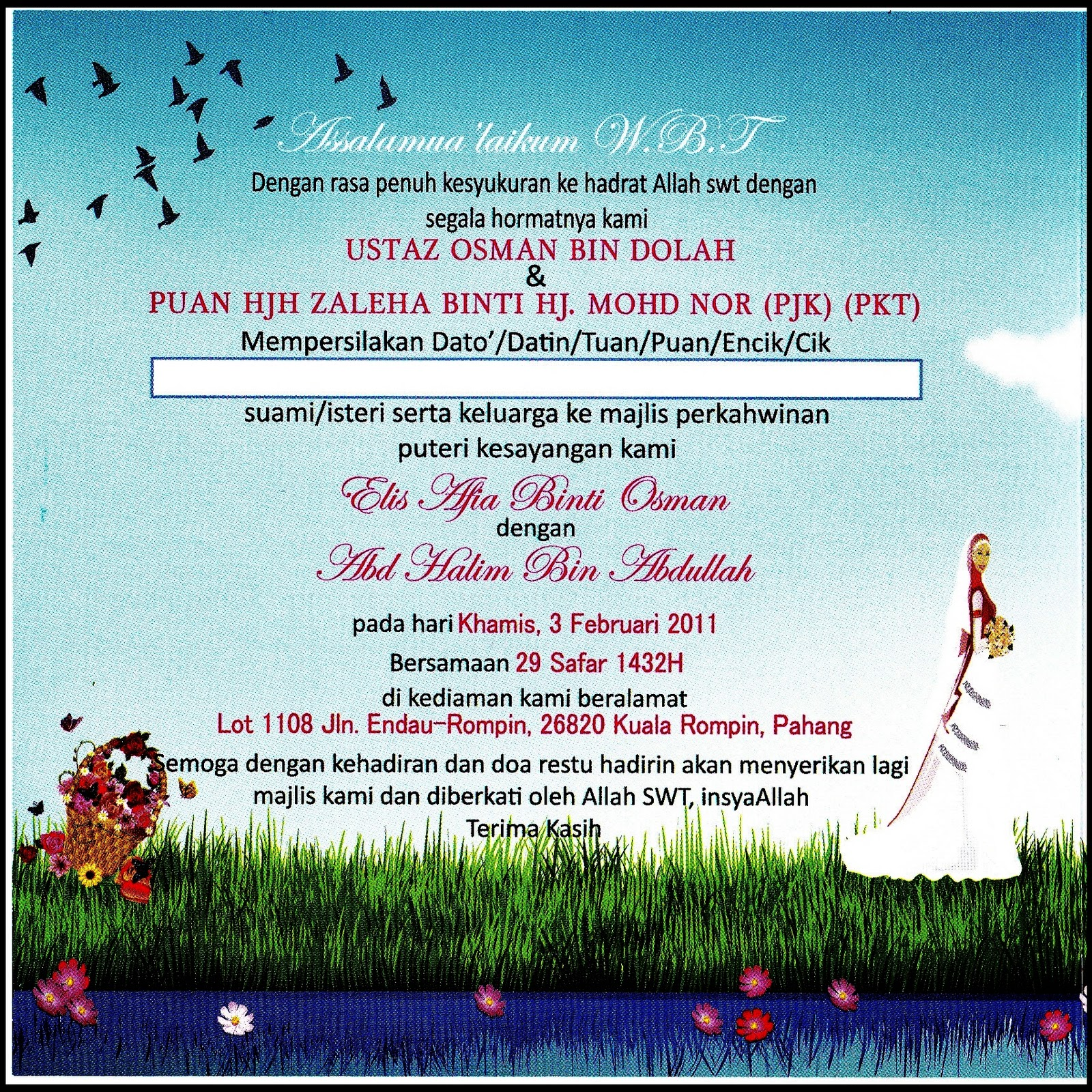 Contoh Invitation Card Perkahwinan Pictures