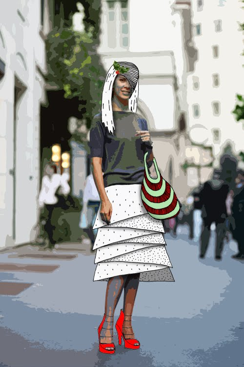 An altered image from the Sartorialist of a young woman.