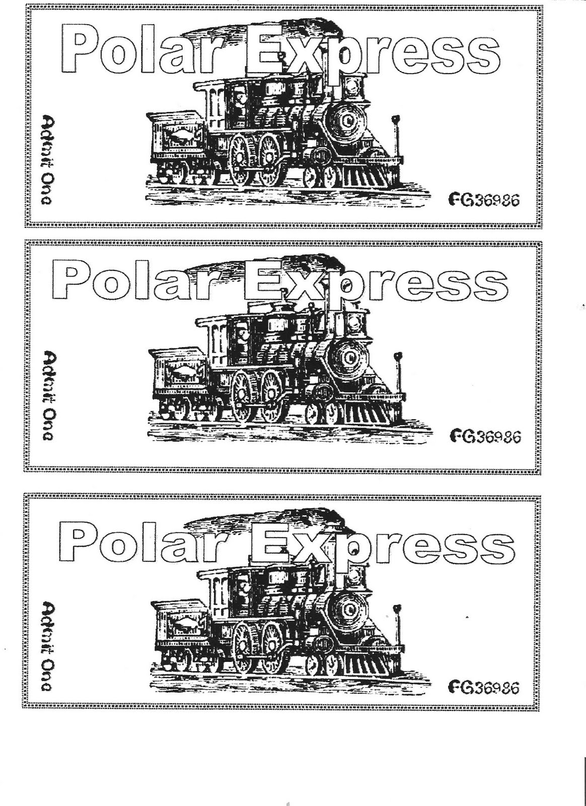 Printable Sheet Of A Polar Express Believe Tickets Pictures to Pin – Polar Express Worksheets