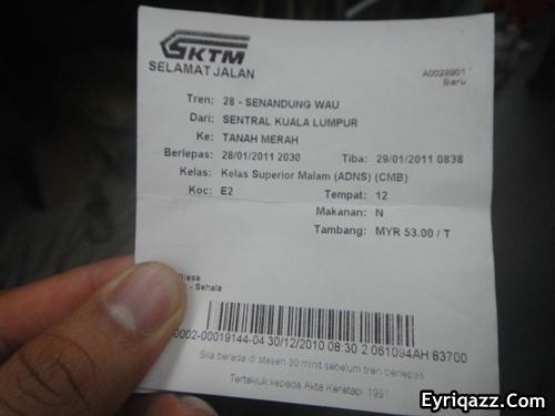 Harga tiket Keretapi kelas Superior malam (ADNS) seat tidur, RM53 seat ...