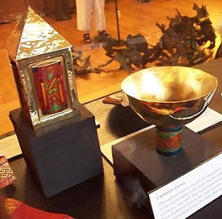 Reliquary and Offering Bowl b y Catherine Crowe in the Grave Goods Exhibition at the Woodstock Museum