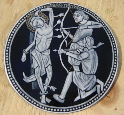 grisaille enamel St. Sebastian