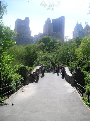 Central Park bridge, New York with city skyline in background