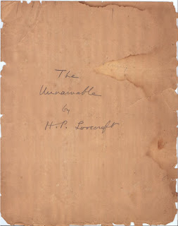 foto: H.P. Lovecraft, il manoscritto di 'The Unnamable'