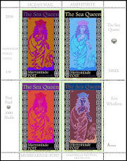 VIRTUAL STAMPS: Mermaid Goddess Faux Postage Stamps