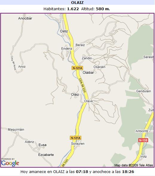 Mapa de Olaibar