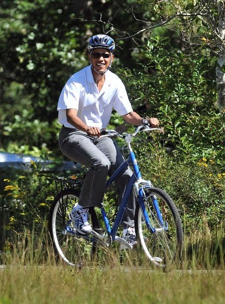 obama on girl s bicycle