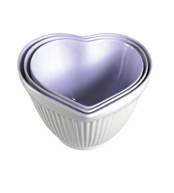 Heart mixing bowls by Coffee and Cream