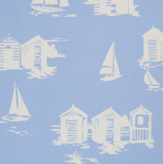 Beach huts fabric by Clarke &amp; Clarke