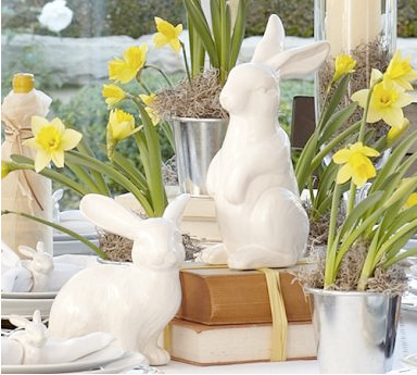 Easter ceramic bunnies by Pottery Barn