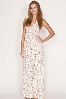 Maxi dress in honey bird print