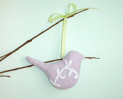 Lilac felt Easter bird