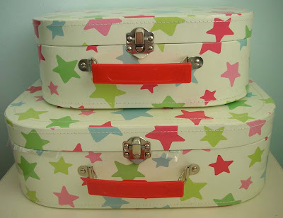Shooting star kids suitcases from Cath Kidston in the craft room