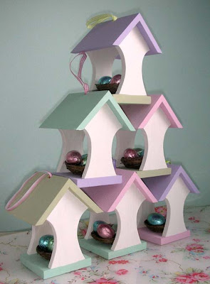 Easter bird house stack
