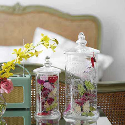 Etched storage jars by Graham and Green