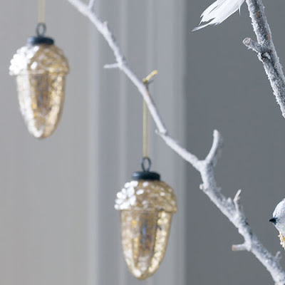 Mercury Glass Acorn Decorations by Graham & Green