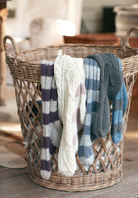 Striped bed socks by Hush