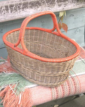 Vintage basket with orange handle by The Laundry