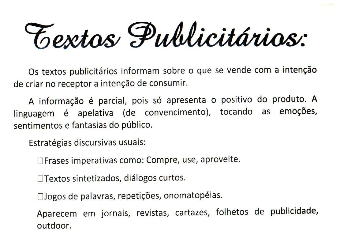 TIPOLOGIAS TEXTUAIS   TEXTOS PUBLICIT  RIOS
