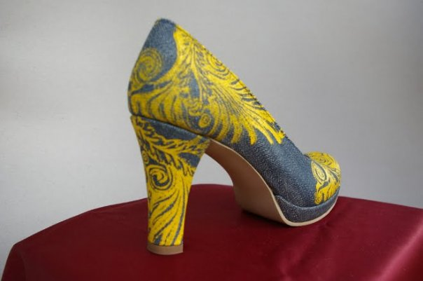 Denim & leather printed shoes with victorian ornaments
