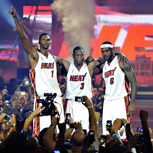 The new Heat stars celebrate being able to find the arena so soon after signing
