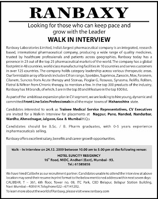 Placementinfos.com: RANBAXY walk-ins for freshers/experience holders