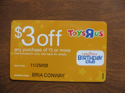 Commoncentsical Toys R Us Birthday Club