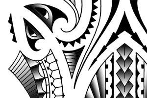 polynesian lower leg tattoo design