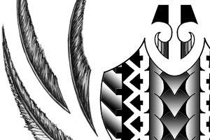 maori calf tattoo with feathers