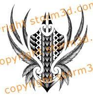 shin maori tribal tatoo feather