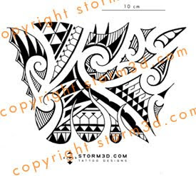 forearm tribal flames tattoo polynesian design