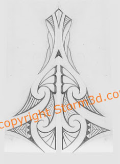 pencil sketch of a maori inspired back tatoo design