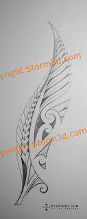 silver fern maori tattoo design