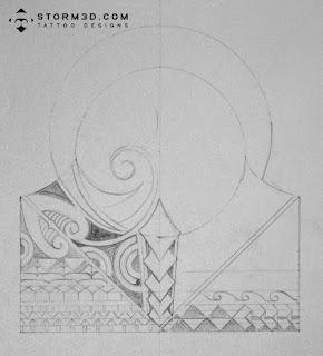 polynesian lizard mask tattoo design
