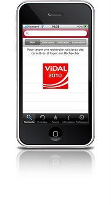 application vidal 2010 sur iphone