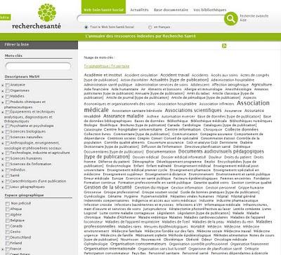 annuaire recherche santé des sites indexés, classés par mot-clé ou par pays