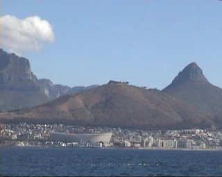 green point stadium cape town in the bferry boat returning from robben island