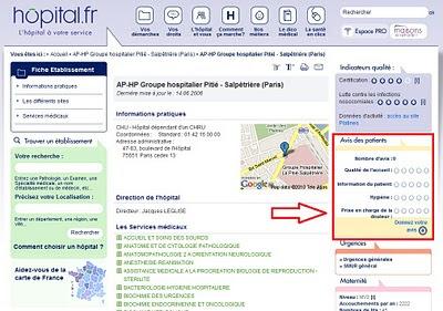 évaluation des hôpitaux en ligne sur hôpital.fr