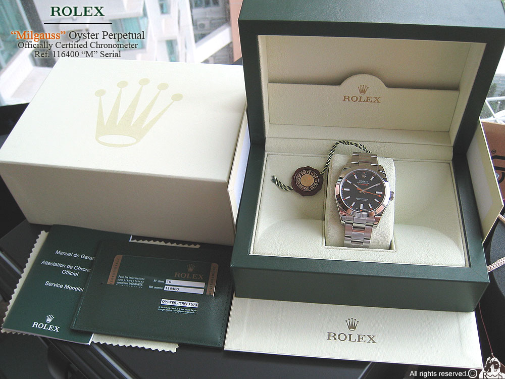 rolex milgauss anniversary. packaging is the usual rolex