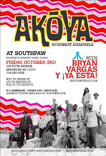 Akoya Afrobeat Ensemble Returns to Southpaw on October 3rd