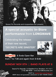 Longwave Plays an Acoustic Set Tomorrow (November 9th) at Sound Fix Records