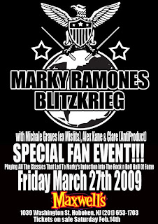Marky Ramone's Blitzkreig (featuring Michale Graves) plays Maxwell's on March 27th