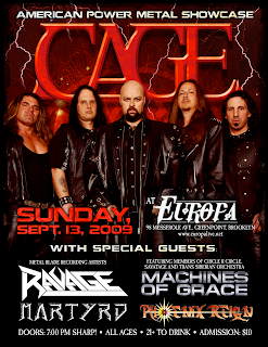 Cage (San Diego Power Metal) Headlines Club Europa on Sept. 13th
